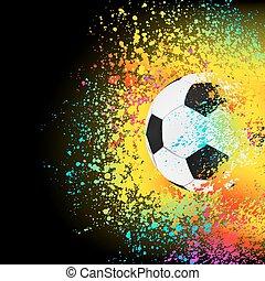 Un fondo colorido con una pelota de fútbol. EPS 8