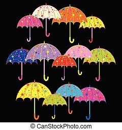 Un fondo colorido de paraguas