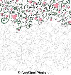 Un fondo con corazones y adornos florales