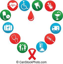 Un fondo con iconos y elementos medicinales