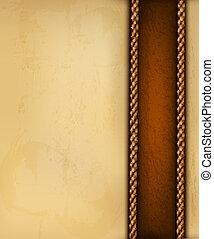 Un fondo con papel viejo y cuero marrón. Ilustración del vector.