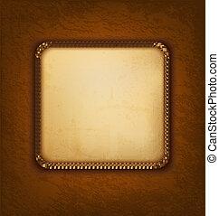 Un fondo con papel viejo y cuero marrón. Ilustración del vector