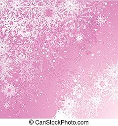 Un fondo de copos de nieve rosa