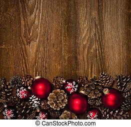 Un fondo de madera con adornos navideños