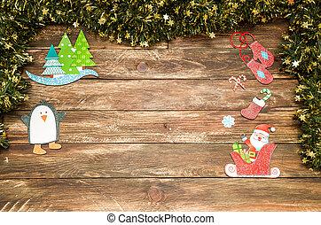 Un fondo de madera de Navidad con Santa