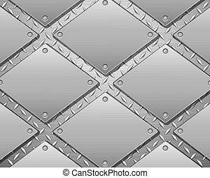 Un fondo de metal de diamantes y platos
