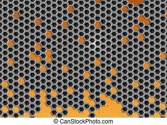 Un fondo de metal hexagon.