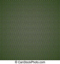 Un fondo de metal verde hexagon