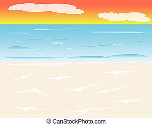 Un fondo de playa al atardecer