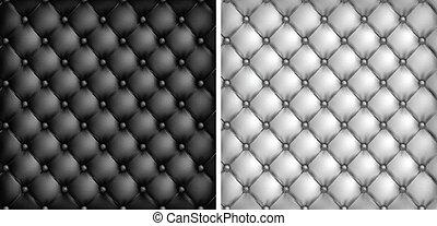 Un fondo de tapicería de cuero blanco y negro