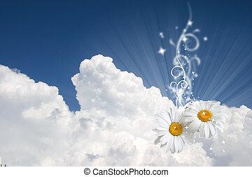 Un fondo del cielo floral