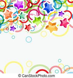 Un fondo festivo moderno con estrellas brillantes y círculos
