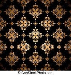 Un fondo floral de oro