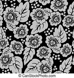 Un fondo floral negro
