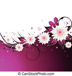 Un fondo floral rosado