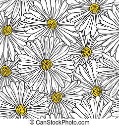 Un fondo floral sin semen con camomilas