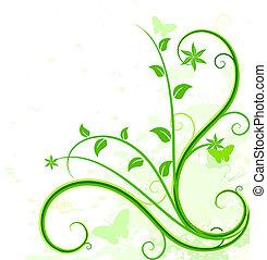 Un fondo floral verde.