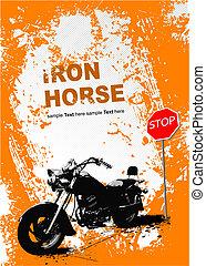 Un fondo gris naranja con imagen de motocicleta. Ilustración del vector