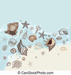 Un fondo marino. Ilustración del vector a mano