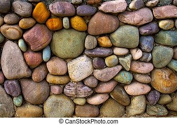 Un fondo multicolor de pared de piedra