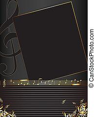 Un fondo musical con notas doradas