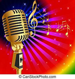 Un fondo musical con un micrófono y una nota