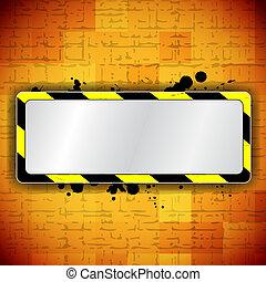 Un fondo naranja con marco y raya de advertencia