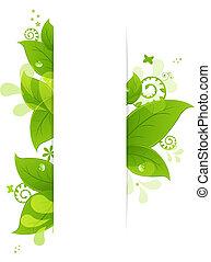 Un fondo natural con hojas y gotas