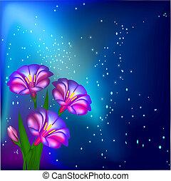 Un fondo nocturno con flores y estrellas