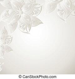 Un fondo plateado con adornos florales