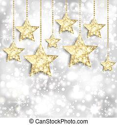 Un fondo plateado con estrellas doradas y luces brillantes