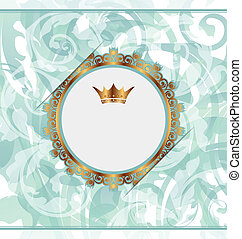 Un fondo real con marco de oro y corona heráldica