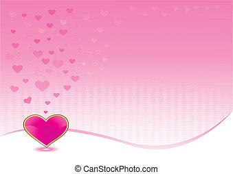 Un fondo rosado con un corazón brillante