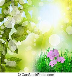 Un fondo verde natural con flores