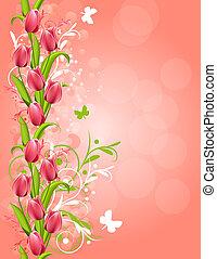 Un fondo verde rosado con tulipanes y flores
