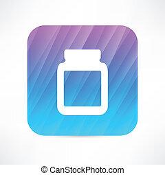 Un frasco de medicina con pastillas