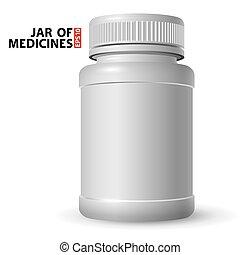 Un frasco de plástico blanco para medicinas con una tapa cerrada. Volumétrico y mirada real. Vista lateral.
