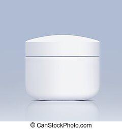 Un frasco de plástico para cosméticos