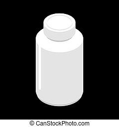Un frasco de plástico para pastillas aisladas. Contenedor para medicinas. Ilustración farmacéutica médica