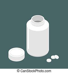 Un frasco de plástico para pastillas y pastillas. Contenedor para medicinas. Ilustración farmacéutica médica