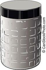 Un frasco nuevo de vidrio para productos sueltos