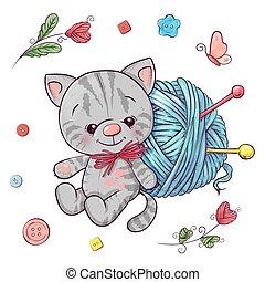 Un gatito y una bola de hilo para tejer. Dibujo a mano. Ilustración de vectores