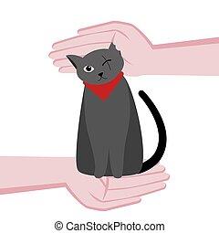 Un gato mono de un ojo está discapacitado. Cuidando a un gato. Las manos alrededor del gato. Ilustración plana de dibujos animados. En un fondo blanco