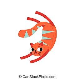 Un gato rojo gracioso, una linda ilustración de caracter de animales