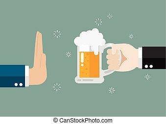 Un gesto de mano rechaza un vaso de cerveza