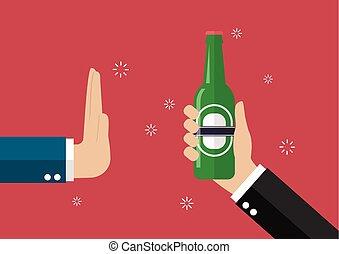 Un gesto de mano rechaza una botella de cerveza