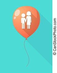 Un globo de sombra larga con un pictograma de la infancia