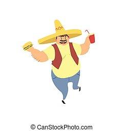 Un gordo con sombrero mexicano