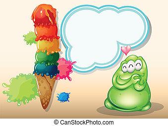 Un gordo monstruo verde de tres ojos cerca del gran helado
