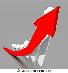 Un gráfico de negocios con una flecha roja